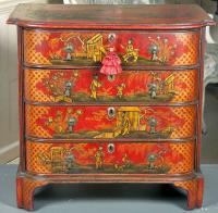 Centennial  English chinoiserie decorated red lacquer chest