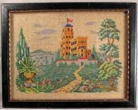 English Victorian multi color glass bead painting of a castle c1840