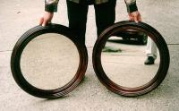 Antique Pair of Walnut Victorian round mirrors