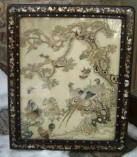 Chinese silk wall hangning in rosewood frame c1850