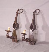 Pair of iron pick Axe wall sconces