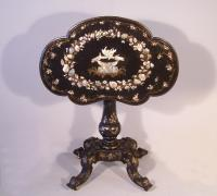 English Victorian black lacquered paper mache table c1880