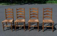 Set of 4 Stickley ladder back maple chairs with rush seats c1956