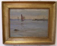 Clifford P Grayson oil painting on board Sailboats in harbor c1883