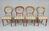Set of four English Victorian  balloon back side chairs c1850