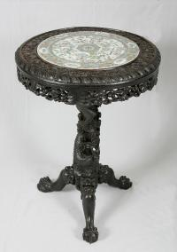Chinese rosewood carved dragon base table with rose medallion plaque