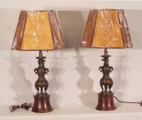 Pr 19thc Chinese bronze dragon sculpture table lamps
