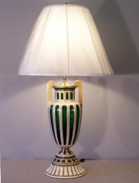 19th C Moser emerald green cut crystal and enameled urn lamp
