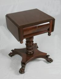 Period American Empire mahogany work table with claw feet c1825