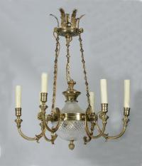 Gilt bronze and crystal hanging six light chandelier c1950
