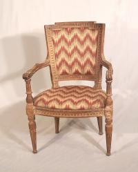 French armchair in flame stitch c1800