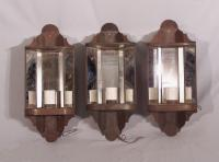 Set of 3 tin hanging corner wall sconces