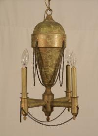 French green tole chandelier C1900