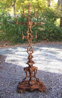 American Victorian cast iron hall coat tree c1880