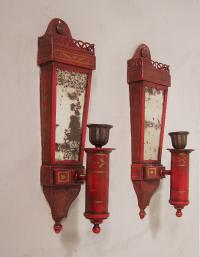Pair red tin candle wall sconces by Caldwell c1910