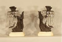 Pair of bronze swan girandoles or candelabras c1850