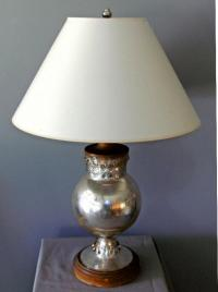19th c  American mercury glass table lamp