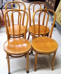 Set of four original Thonet bentwood bistro chairs