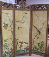 Large Asian room divider watercolor on paper c1880