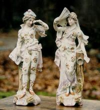 Pair of antique Meissen porcelain figurines