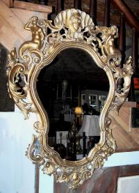 Italian 18th century carved gold leaf mirror c1800