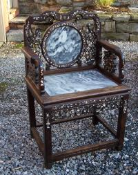 19thc Chinese landscape marble rosewood chair