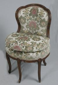 18th c French upholstered boudoir chair