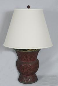 Ching Dynasty Chinese cinnabar lamp