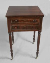 Federal 2 drawer night stand with brass inlay c1790