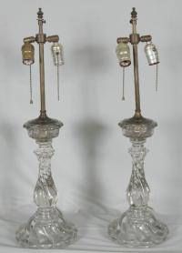 Pair Baccarat swirl glass lamps c1900
