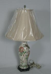 Chinese earthenware lamp with flowers