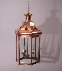 Vintage handmade copper hanging light fixture