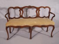 18th c French walnut diminutive upholstered settee c1790