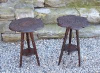 Assembled pair of carved Indian rosewood stands c1880