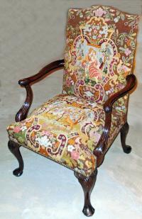 George II style Centennial mahogany library chair c1890