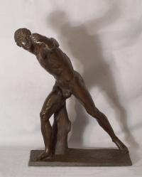 Nude Bronze sculpture figure of a young athlete c1870