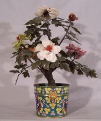 19th c jade peony tree in cloisonne pot