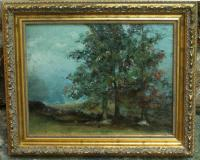Fannie Burr landscape oil painting on board c1885