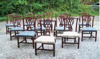 Set of twelve Vintage Baker Chippendale mahogany dining chairs