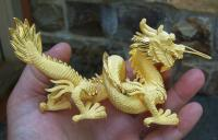 Chinese 24k solid yellow gold dragon in case