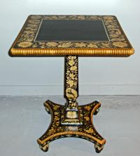 English black lacquered mahogany tilt top tea or occasional table c1820