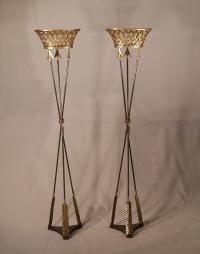 Pair of French Empire bronze arrow jardinieres