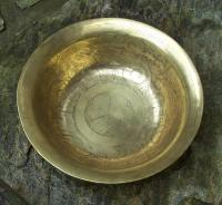 Japanese acid etched brass bowl c1880