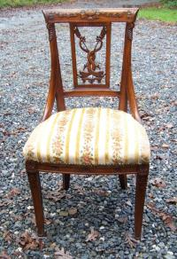 French hand carved dolphin and arrows side chair c1820