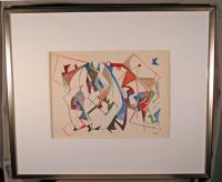 Sacha Kolin geometric abstract watercolor c1950