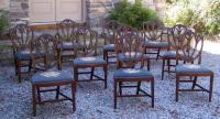 Vintage set of ten Hepplewhite style mahogany dining chairs c1930