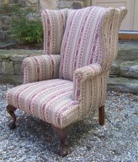 Early American ball and claw foot Chippendale wing chair c1790