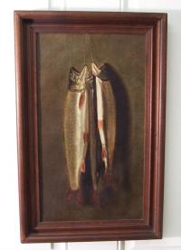 19th C Brown Trout oil painting on canvas c1870