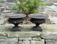 Rare small pair of Victorian cast iron planters c1880