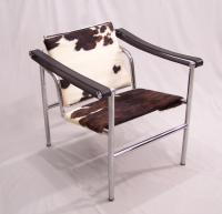 Corbusier Basculant LC1 chair stainless steel with pony hide